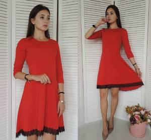 Платье короткое коктейльное красное У8356