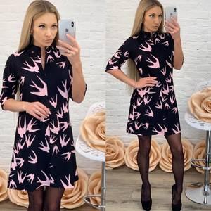 Платье короткое с рукавом 3/4 с принтом Ф5504