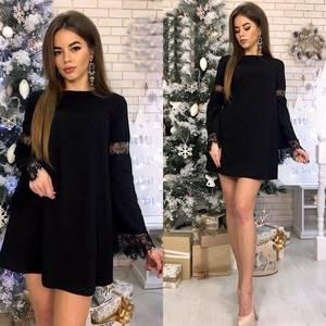 Платье короткое нарядное с длинным рукавом Ф9889