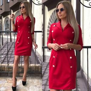 Платье короткое классическое красное У7413