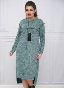 Платье длинное с длинным рукавом зеленое Ф2409