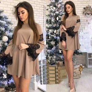 Платье короткое нарядное с длинным рукавом Ф9890