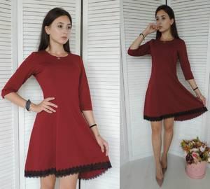 Платье короткое коктейльное красное У8357
