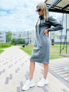 Платье на флисе короткое с длинным рукавом А56243