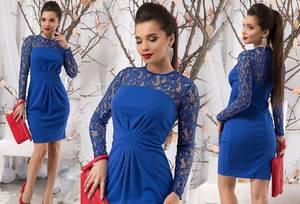 Платье короткое с длинным рукавом синее Ф5265