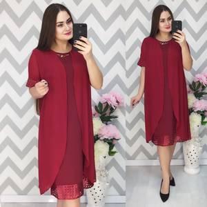 Платье Двойка короткое нарядное красное Ф6377
