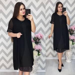 Платье Двойка короткое нарядное черное Ф6375