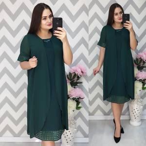 Платье Двойка короткое нарядное зеленое Ф6376
