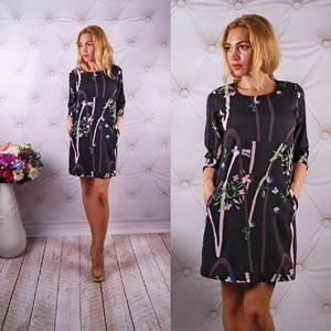 Платье короткое с рукавом 3/4 с принтом У0056