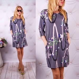 Платье короткое с рукавом 3/4 с принтом У0057