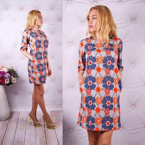 Платье короткое с рукавом 3/4 с принтом У0059