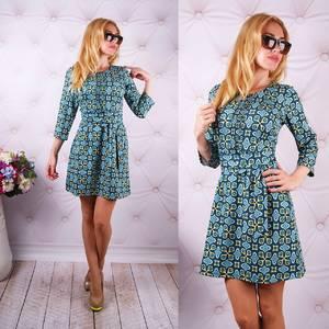 Платье короткое с рукавом 3/4 с принтом У0060