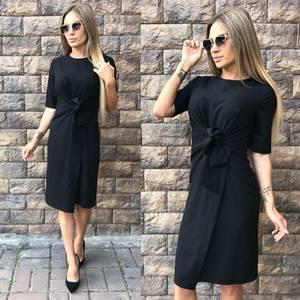 Платье короткое современное черное У0045