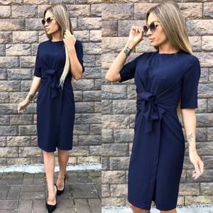 Платье короткое современное синее У0049