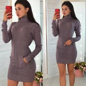 Платье короткое облегающее теплое Ф3312