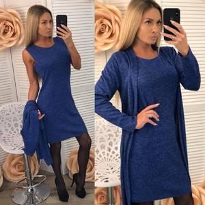 Платье Двойка короткое трикотажное облегающее Ф5396