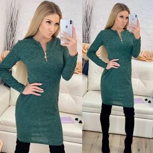 Платье короткое с длинным рукавом однотонное Ф8259