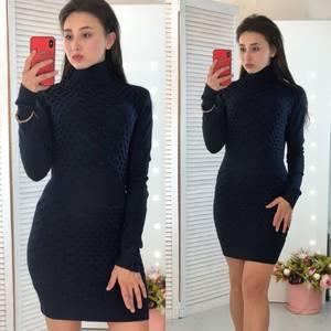 Платье короткое облегающее теплое Ф3304