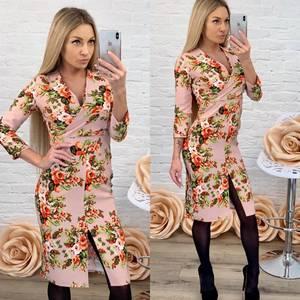Платье короткое с рукавом 3/4 с принтом Ф5863