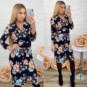 Платье короткое с рукавом 3/4 с принтом Ф5864