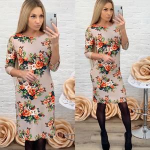 Платье короткое с рукавом 3/4 с принтом Ф5865