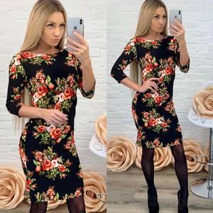 Платье короткое с рукавом 3/4 с принтом Ф5866