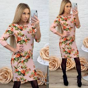 Платье короткое с рукавом 3/4 с принтом Ф5867