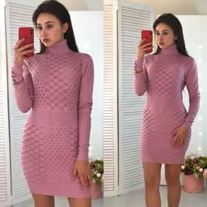 Платье короткое облегающее теплое Ф3305