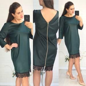 Платье короткое нарядное зеленое У8982