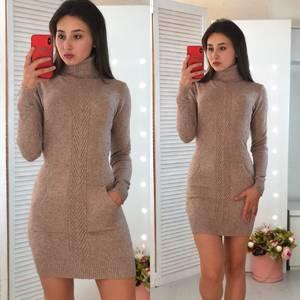 Платье короткое облегающее теплое Ф3306