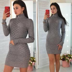 Платье короткое облегающее теплое Ф3307