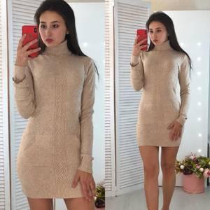 Платье короткое облегающее теплое Ф3308