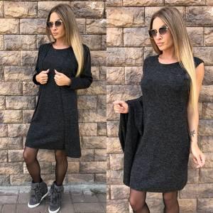 Платье Двойка короткое трикотажное классическое Ф5392
