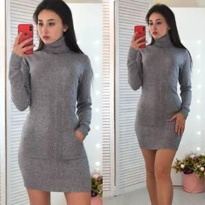 Платье короткое облегающее теплое Ф3309