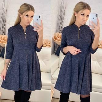 Платье короткое с рукавом 3/4 синее Ф8264