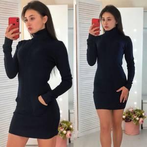 Платье короткое облегающее теплое Ф3310