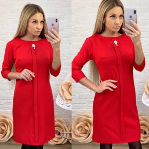 Платье короткое с рукавом 3/4 красное Ф5846