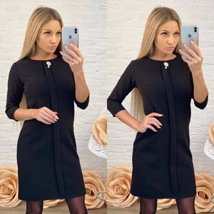 Платье короткое с рукавом 3/4 черное Ф5847