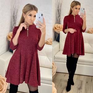 Платье короткое с рукавом 3/4 красное Ф8262