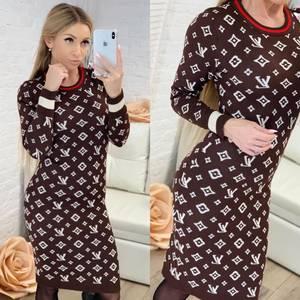 Платье короткое с длинным рукавом с принтом Ф8300