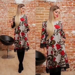 Платье короткое с рукавом 3/4 с принтом Ф4146