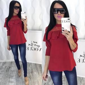 Блуза с кружевом красная Ф5090