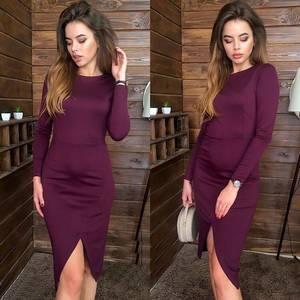 Платье короткое с длинным рукавом облегающее Х0603
