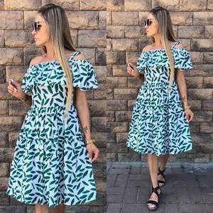 Платье короткое с принтом современное У8760