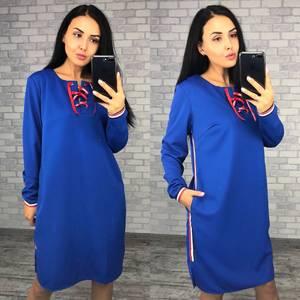 Платье короткое с длинным рукавом синее Ф0401