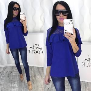 Блуза с кружевом синяя Ф5089