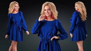 Платье короткое с длинным рукавом синее Ф9863