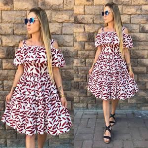 Платье короткое с принтом современное У8761