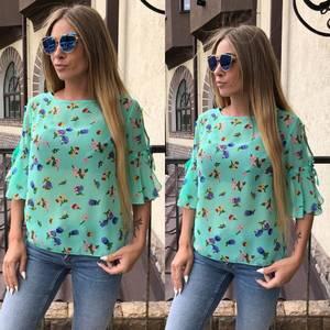 Блуза летняя с коротким рукавом прозрачная У8756