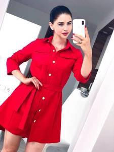 Платье короткое с рукавом 3/4 красное Ф8412